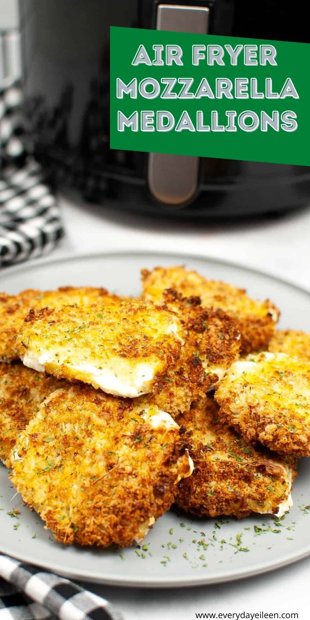 Air Fryer Mozzarella Medallions are delicious treats that have a crispy and crunchy exterior with the cheesy goodness inside. Great for appetizers, snacks, parties, game day. #recipe #airfryermozzarellamedallions #gamedaysnacks #mozzarellasticks #everydayeileen via @/everydayeileen/