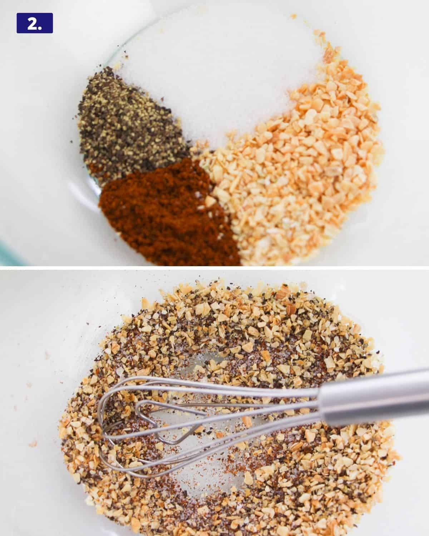 The spice rub made of salt, pepper, chili powder, dehydrated garlic and onion