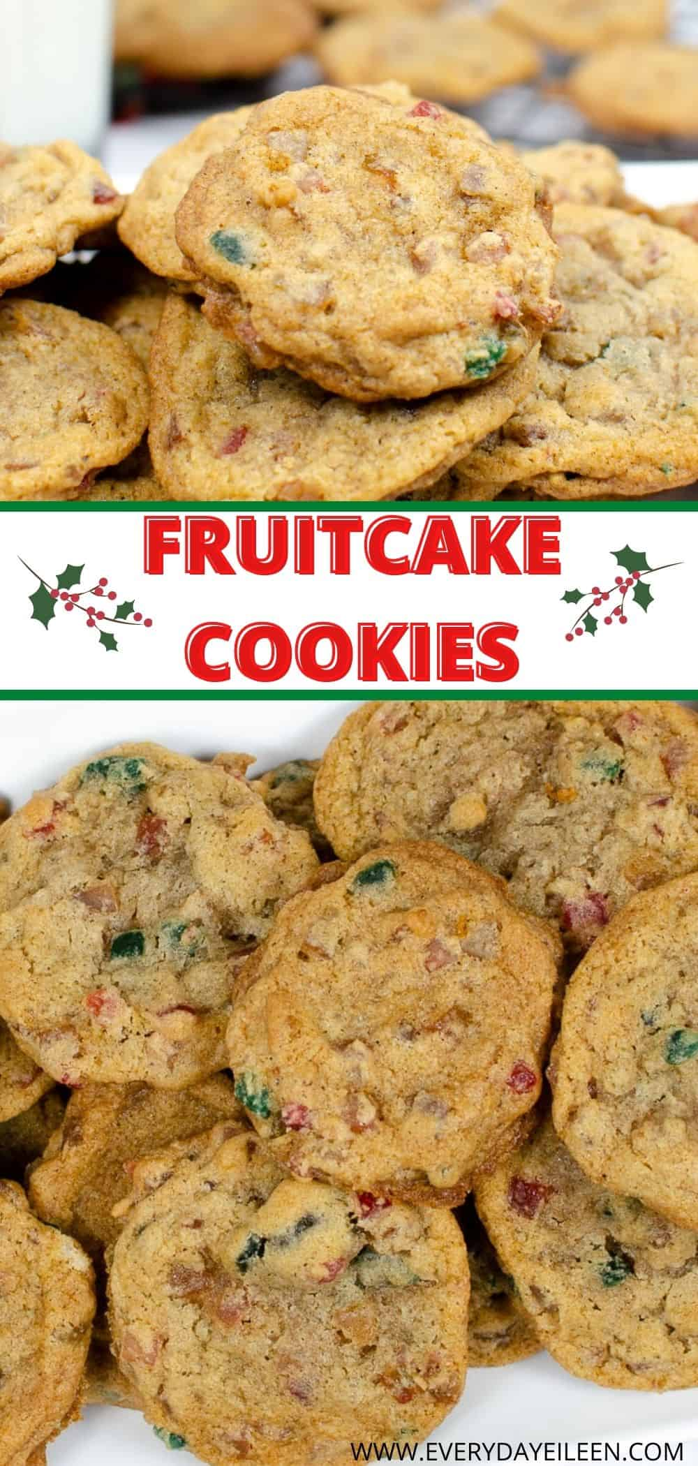 Fruitcake Cookies are an easy Holiday drop cookie recipe. They are loaded with candied fruit and perfect for your Holiday dessert table. #christmascookies #fruitcakecookies #holidaycookies #everydayeileen via @/everydayeileen/