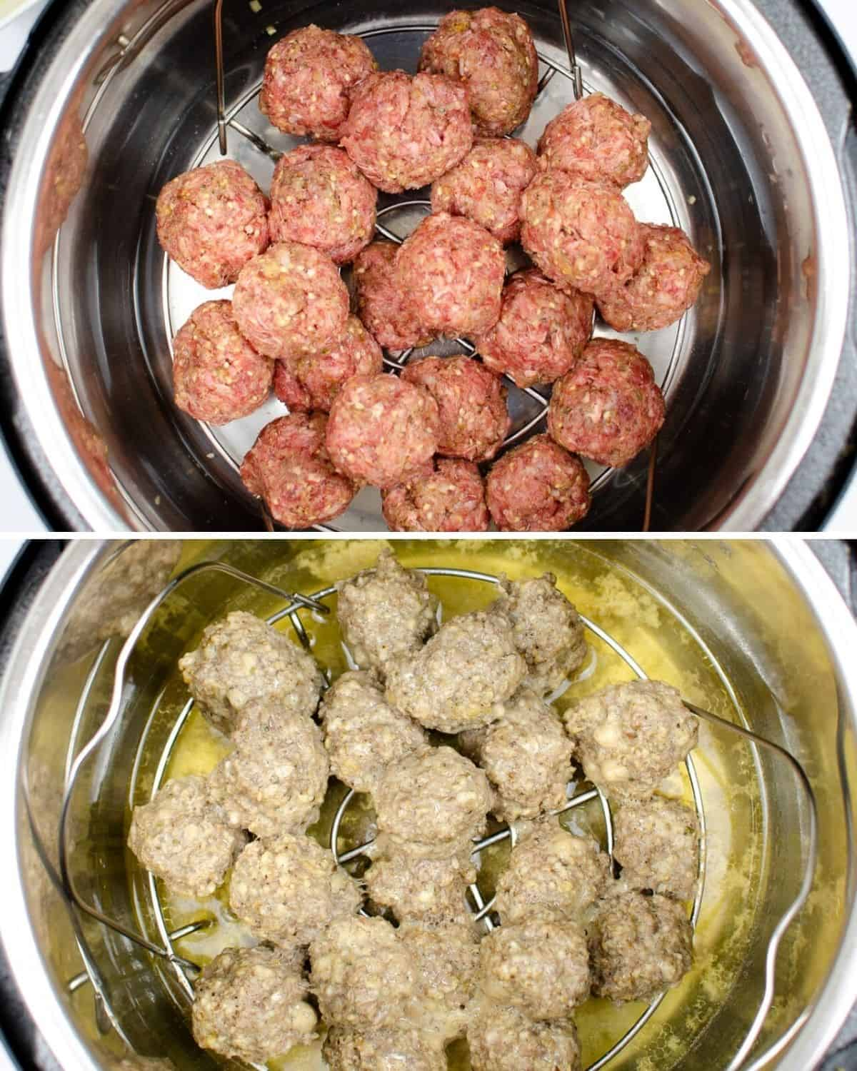 Meatballs in an Instant Pot and another photo of the meatballs after being cooked