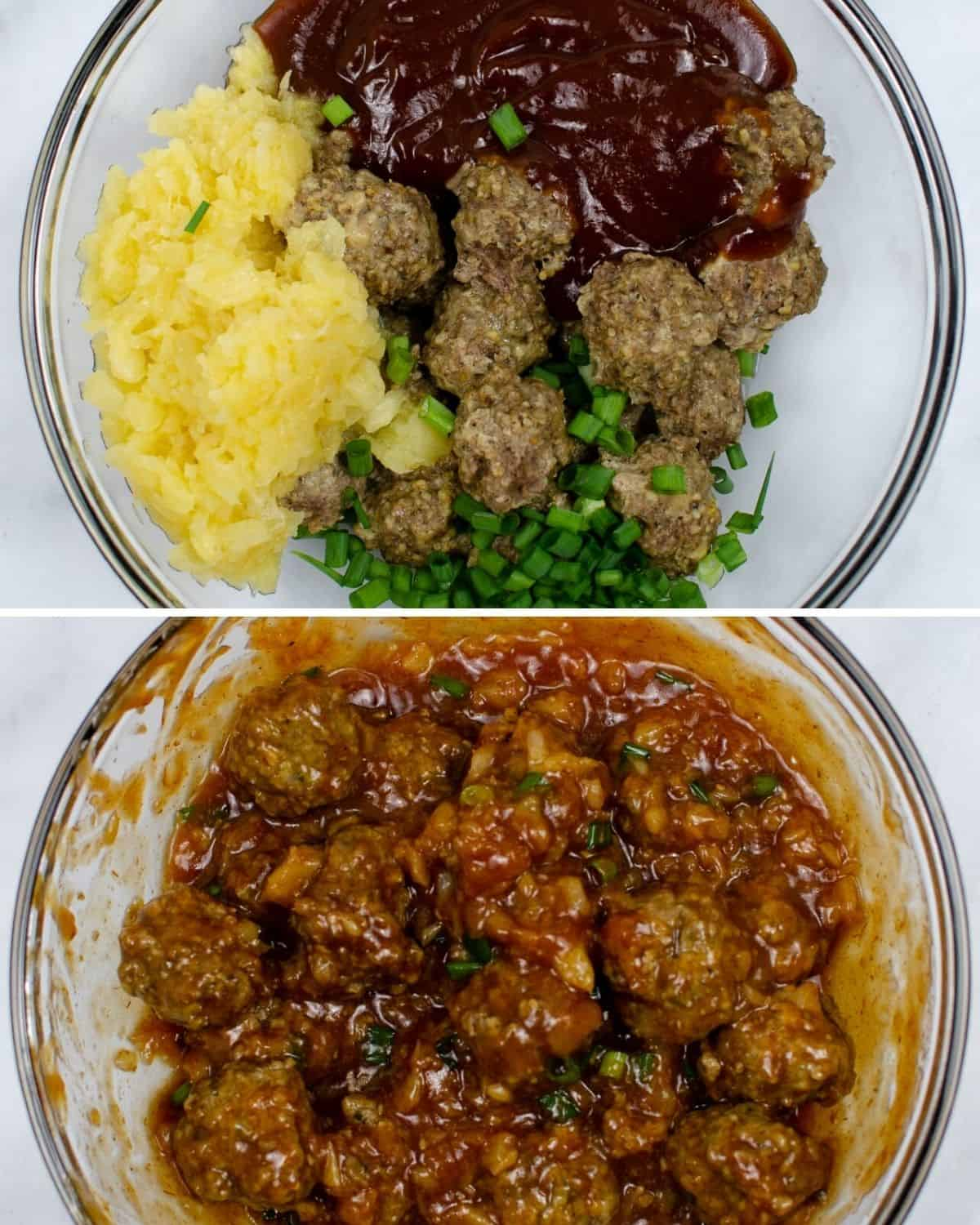 A collage of meatballs in a glass bowl with bbq sauce, and pineapples.then all mixed together in another bowl.