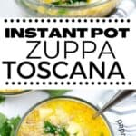 A collage of zuppa toscana soup