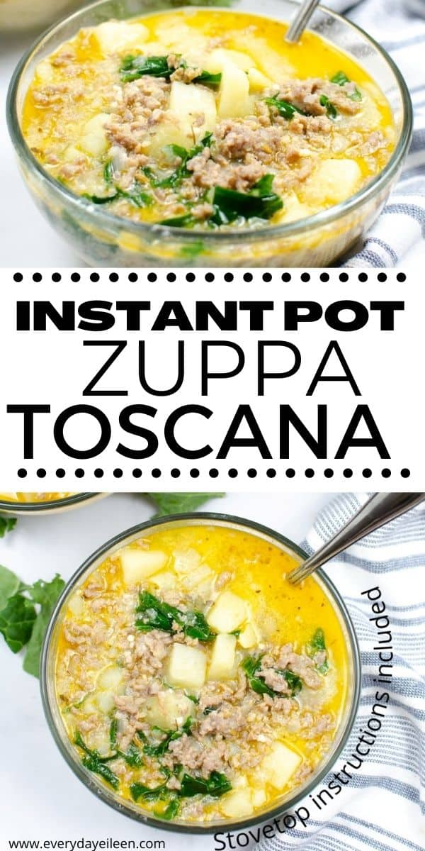 Instant Pot Zuppa Toscana, better than Olive Garden. Make a homemade from scratch soup that is ready in less than 30 minutes. A hearty soup that is loaded with flavor from ground sausage, potatoes, and kale. We've included keto swaps as well as stovetop instructions. #instantpotzuppatoscana #zuppatoscana #olivegardencopycat via @/everydayeileen/