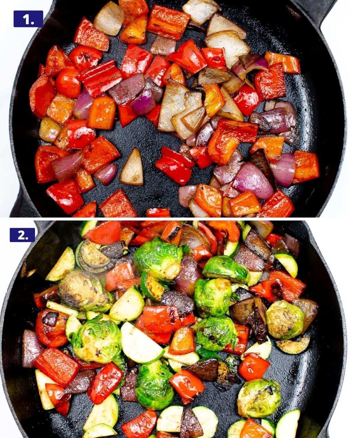 Two photos, the top photo is red pepper chopped in a cast iron skillet. The second photo, is the cast iron skillet with the peppers and also added in Brussels sprouts and red onions.