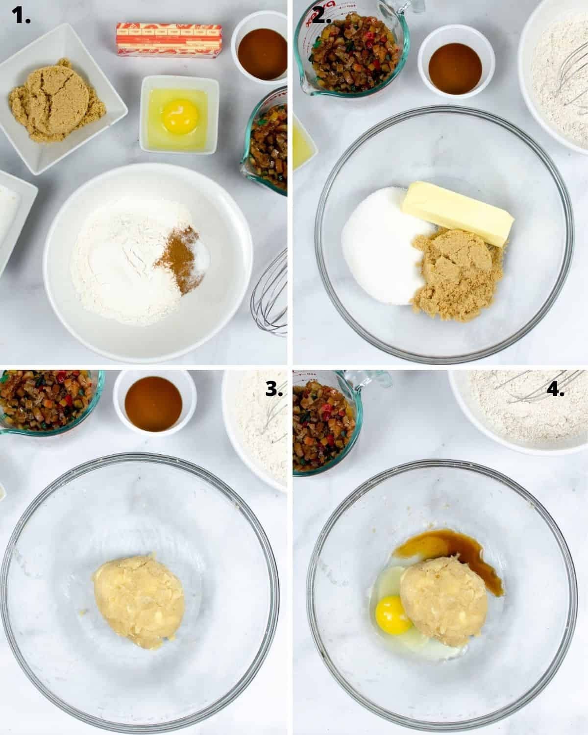 Step by step instructions of incorporating spices into flour to make cookies.