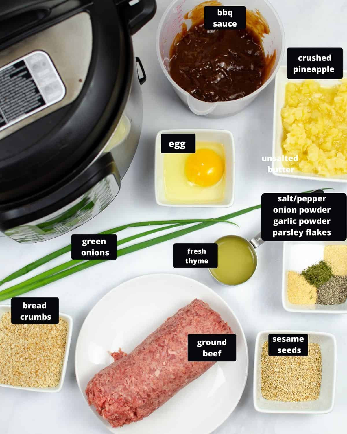 The ingredients to make hawaiian meatballs on a white plate