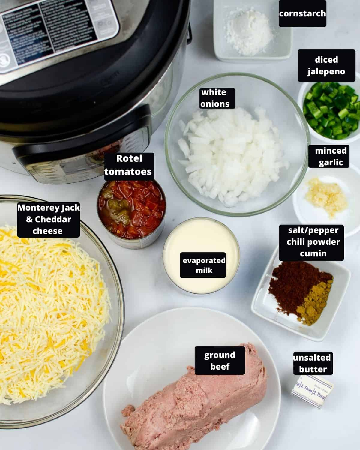The ingredients to make Queso dip in the Instant Pot.