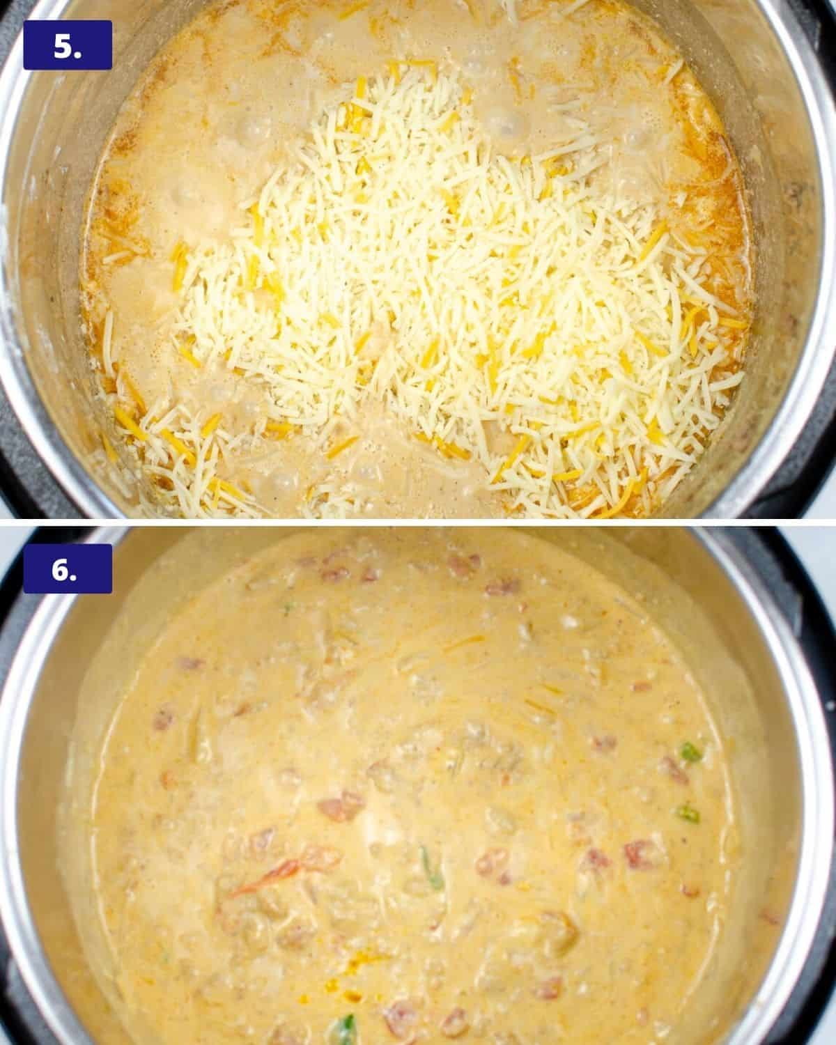 two photos of the instant pot, the first one is a pot of queso with shredded cheese on top. The second photo is the cheese melted.