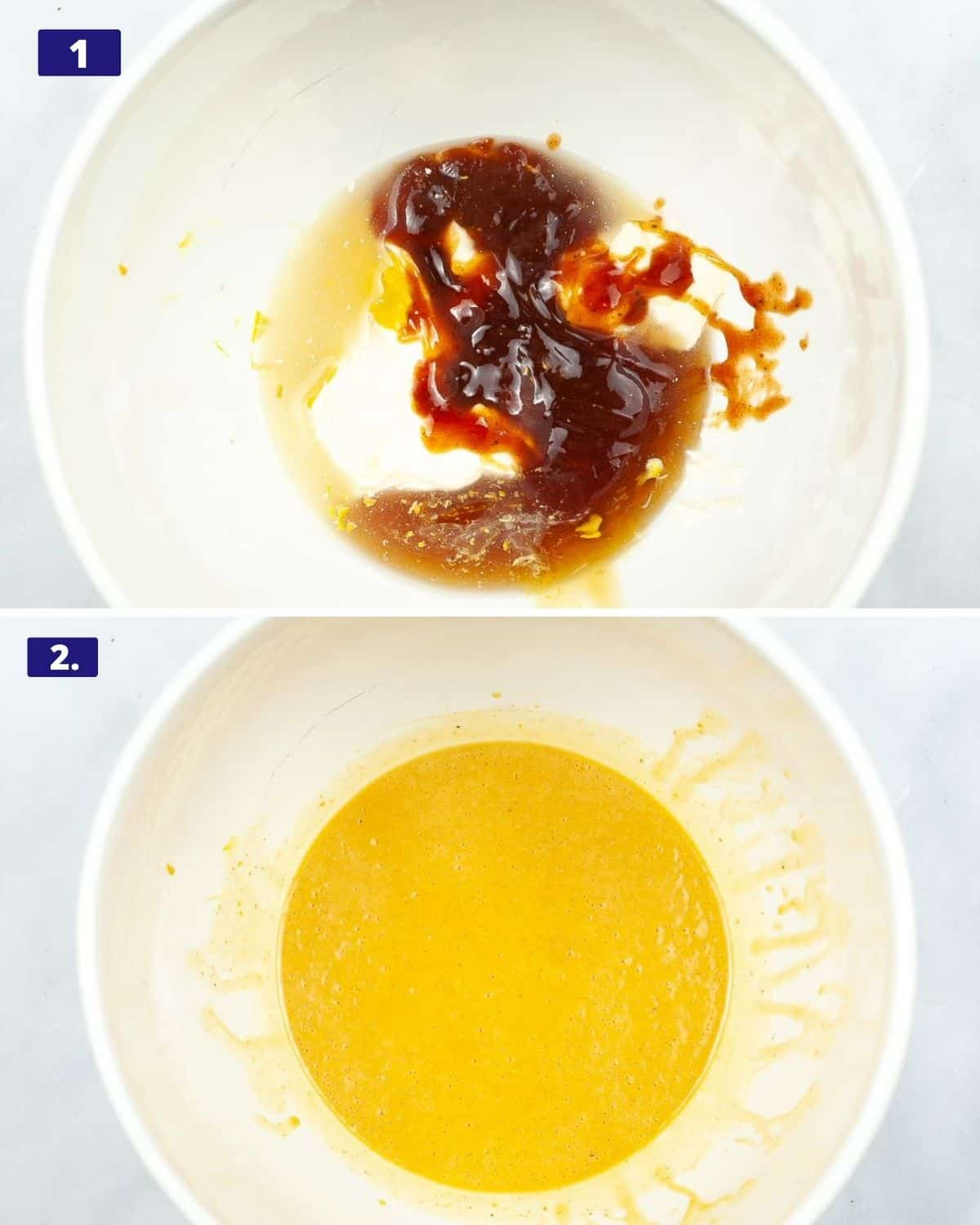 2 photos, 1 the ingredients mayo, mustard, bbq sauce, and lemon juice in a white bowl. 2nd photo, those ingredients mixed together.