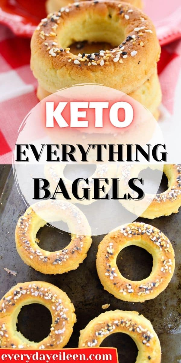 Keto Everything Bagels made with just 5 ingredients and ready in less than 30 minutes. These delicious low-carb bagels are easy to make a you won't miss the carbs. Makes great sandwiches and sides to your breakfast. #lowcarbagels #ketoeverythingbagels #ketobreakfast #everydayeileen  via @/everydayeileen/
