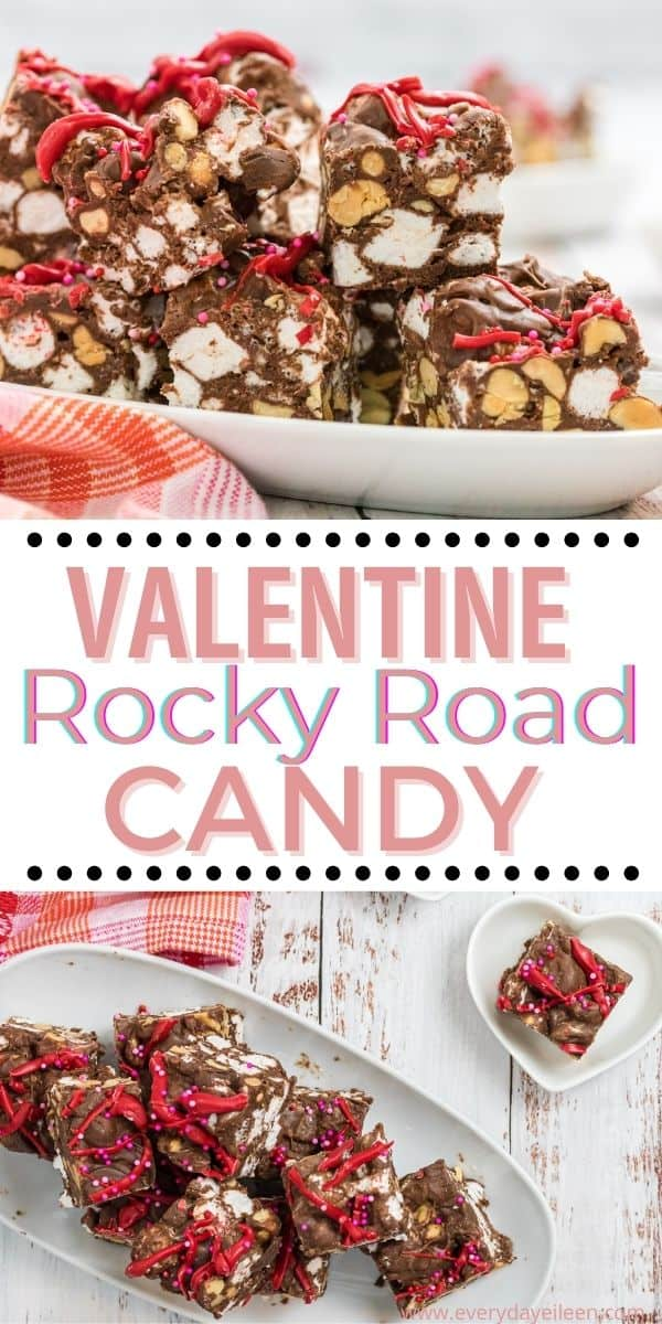 Valentine Rocky Road Candy, homemade fudge made with creamy sweetened condensed milk, milk chocolate chips, and salty nuts. The Valentine candy is topped with festive sprinkles and pink candy. Can be used for any holiday by changing the sprinkles or leaving them off. #Valentinecandy #rockyroadcandy #rockyroad #everydayeileen via @everydayeileen