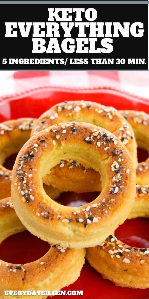 Keto Everything Bagels made with just 5 ingredients and ready in less than 30 minutes. These delicious low-carb bagels are easy to make a you won't miss the carbs. Makes great sandwiches and sides to your breakfast. #lowcarbagels #ketoeverythingbagels #ketobreakfast #everydayeileen  via @everydayeileen