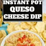 A collage of melted cheese dip in a quite bowl with tortilla chips around the bowl.