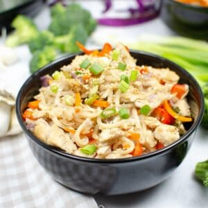 Chow mein noodles, veggies, and chicken in a bowl topped with green onions.