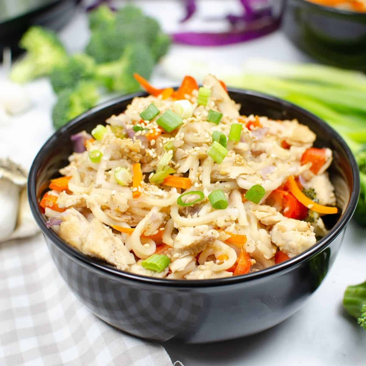 Chow mein noodles, veggies, and chicken in a bowl topped with green onions