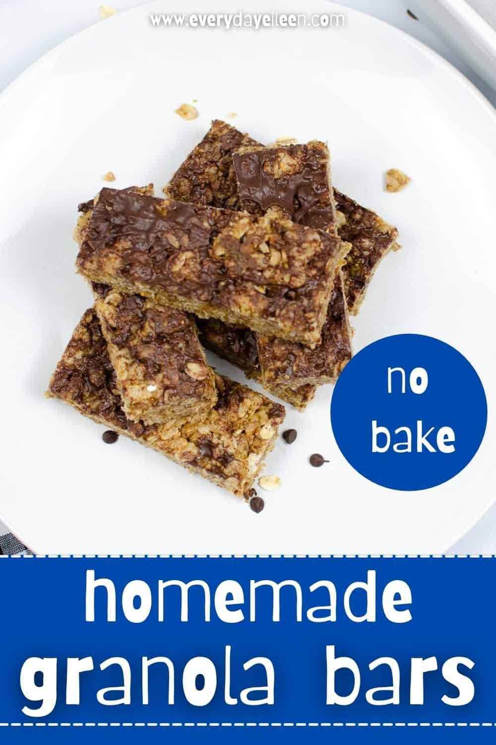 Homemade Granola Bars, are chewy and delicious. Made with rice puffs, peanut or almond butter, and rolled oats. A quick no bake recipe with simple ingredients. From kids to adults, always a hit. #nobakegranolabars #granolabars #everydayeileen via @/everydayeileen/