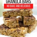 Granola bars stacked up on a white plate
