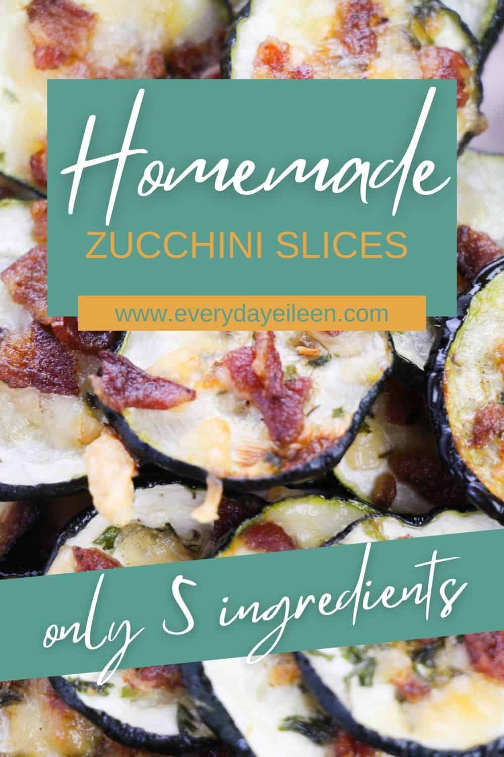 Enjoy homemade Parmesan Zucchini Slices, baked in the oven and topped with cheesy goodness from Parmesan cheese and diced crispy bacon. This is a low-carb snack or side dish. Serve with dip for a great snack. #zucchinislices #zucchinichips #everydayeileen   via @/everydayeileen/