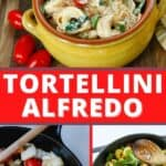 A collage of photos of tortellini a bowl, a cast iron pan with onions and tomatoes, and another cast iron pan with tortellini and spinach in the pan.