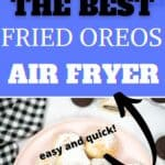 A collage or fried Oreos. 1st photo has the Oreos stacked. 2nd photo is the Oreos on a pink plate.