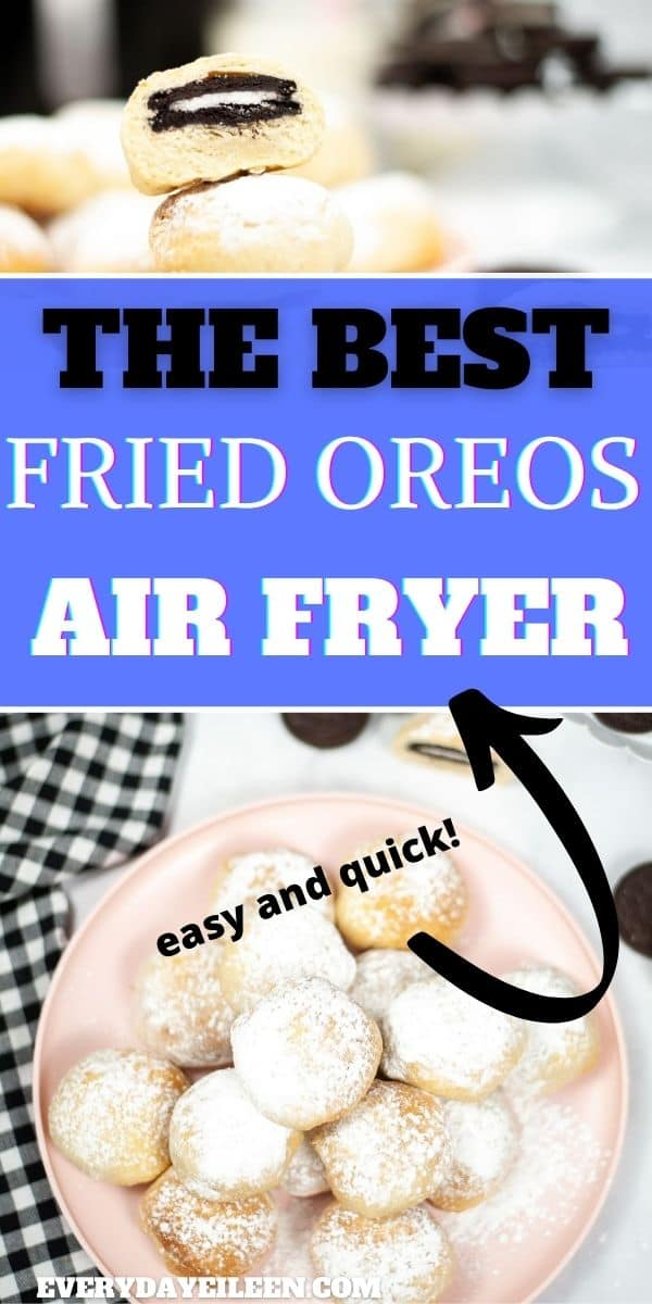 Air Fryer Oreos are made with canned biscuits, super easy to prepare and make and are decadently delicious. A fantastic treat that's so popular at State Fairs and festivals are easily made at home with just a few ingredients. #airfryeroreos #friedoreos via @/everydayeileen/