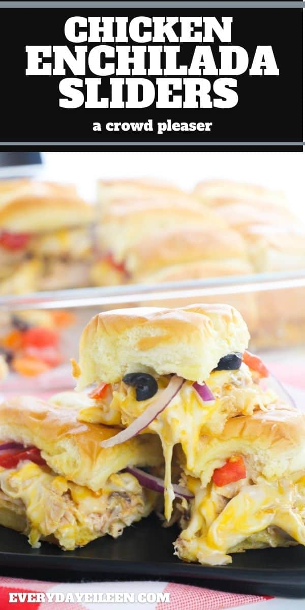 Mexican Enchilada Shredded Chicken Sliders, easy and delicious sliders made on Hawaiian Buns. Slow cook the chicken ahead of time for easy preparation. Perfect for game day snacks, parties, Cinco de Mayo. #chickensliders #enchiladasliders #gamedayfood via @/everydayeileen/