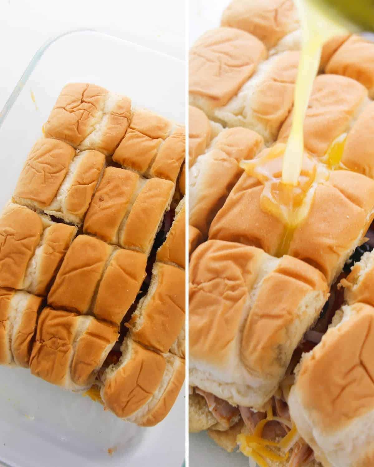 two photos, the first is Hawaiian sliders on a glass plate. The second photo is a stack of sliders with melted butter being poured over the bread.