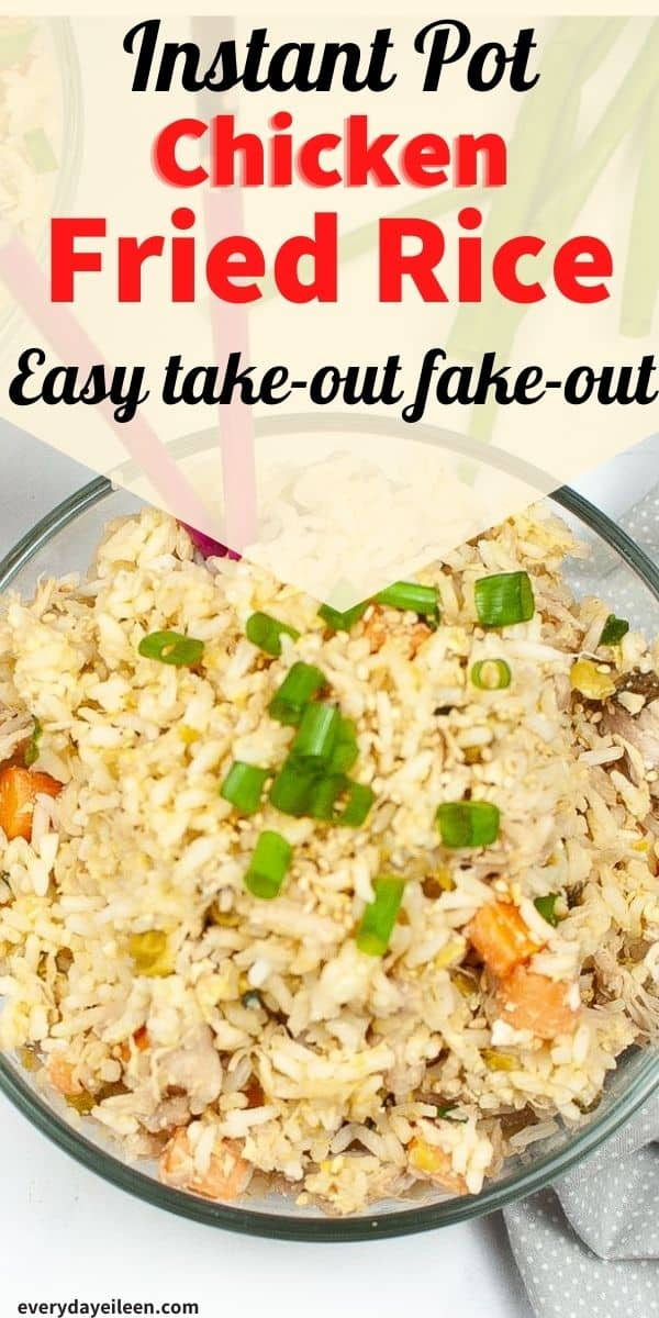 Easy Instant Pot Chicken Fried Rice, made with cooked shredded chicken, long grain rice, eggs, and frozen mixed veggies for a delicious take-out fake out dinner, ready in 20 minutes. You won't want to order out again! So delicious! #instantpotchickenfriedrice #chickenfriedrice #easydfriedricerecipe #everydayeileen via @/everydayeileen/