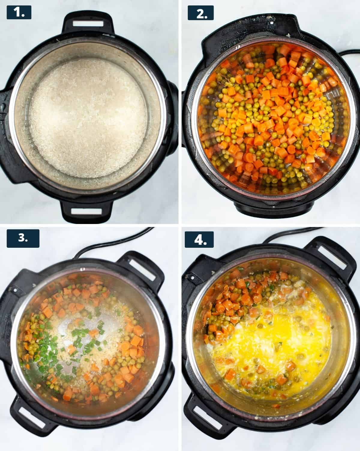 4 photos,1 rice in the Instant Pot, 2 Peas and carrots in the Instant Pot. #