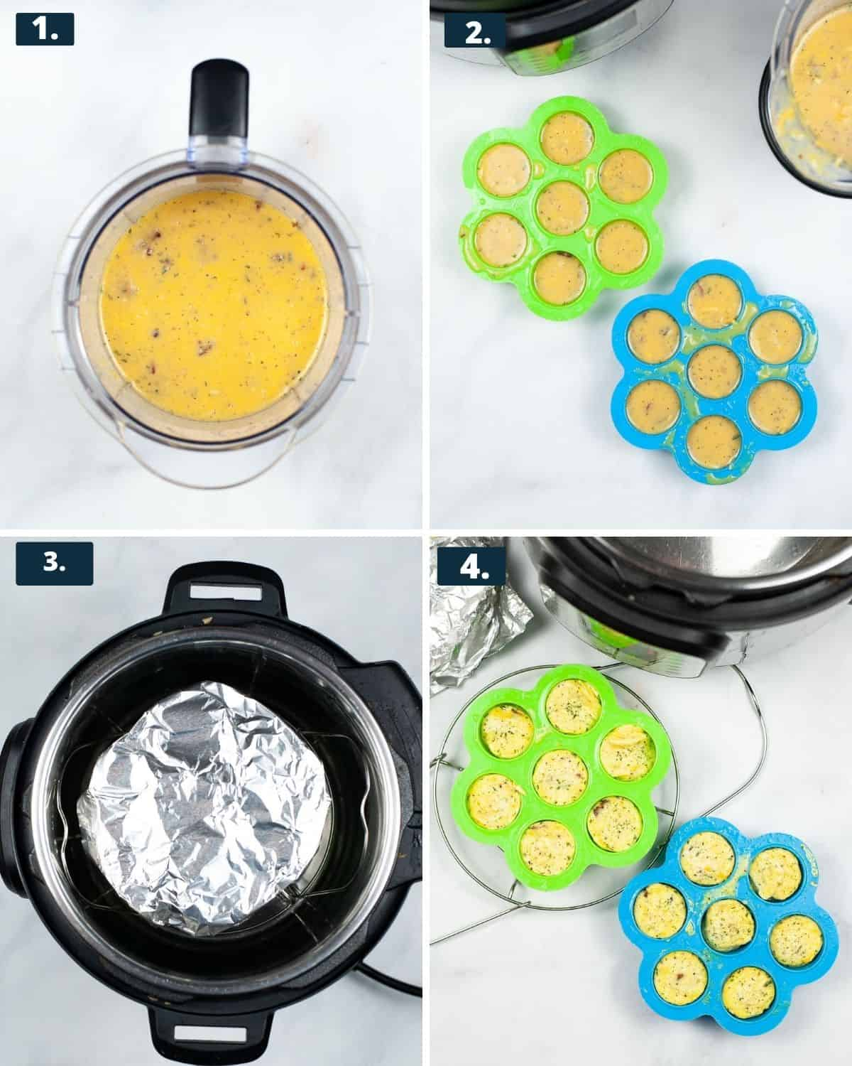 4 photos, 1st photo, eggs in a blender, 2nd photo eggs in a silicone mold, 3rd photo - a silicone mold covered in aluminum foil in an Instant Pot, 4th photo - cooked eggs in silicone molds/.