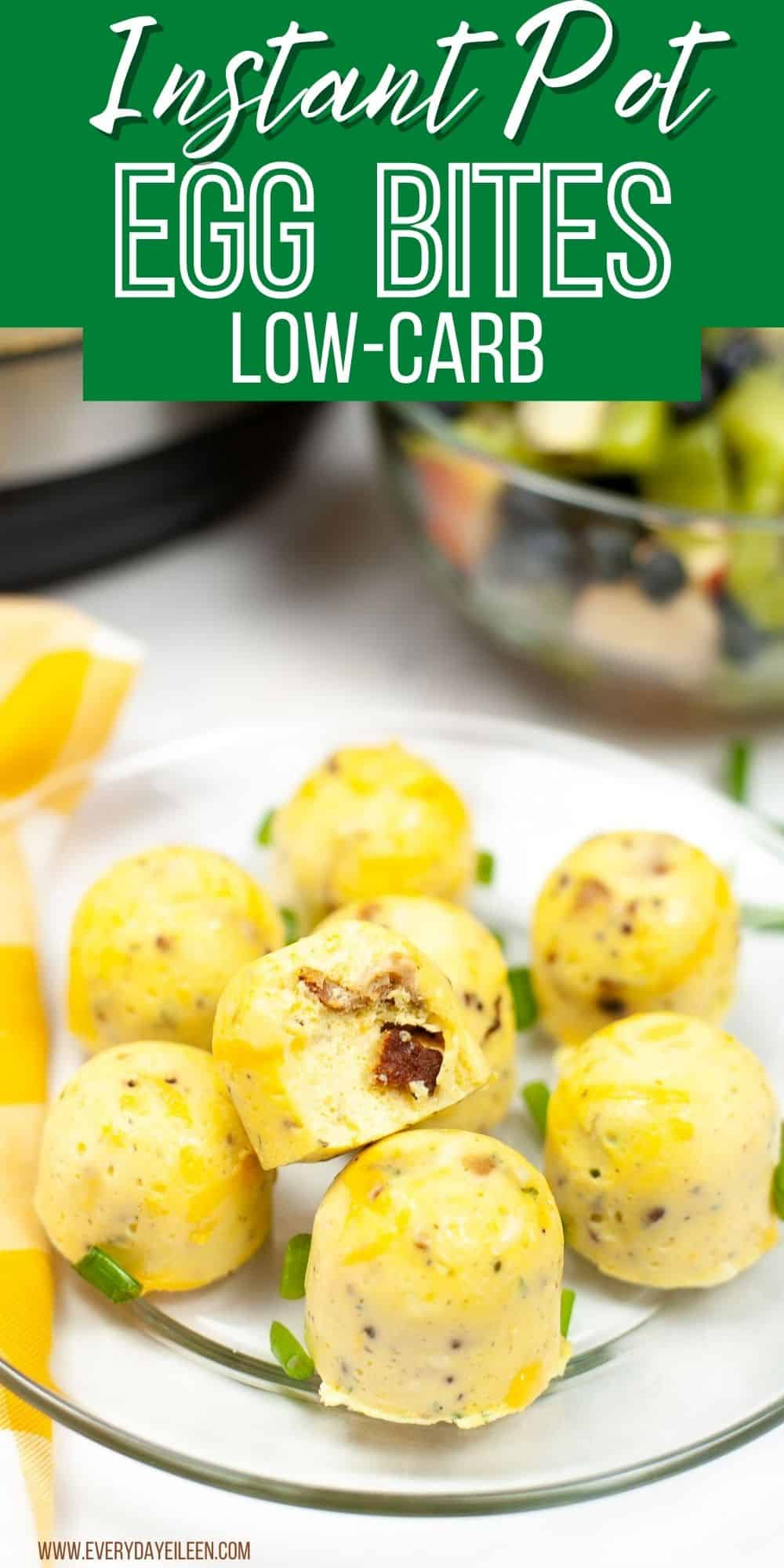Make Starbucks Sous Vide Egg Bites at home in your Instant Pot any time you want to enjoy a great breakfast. Use silicone molds to form the bites. The eggs are loaded with crispy bacon and cheese. You can also add in cottage cheese. We include variations to make different numerous different combinations. #eggbites #instantpotrecipes #everydayeileen via @/everydayeileen/