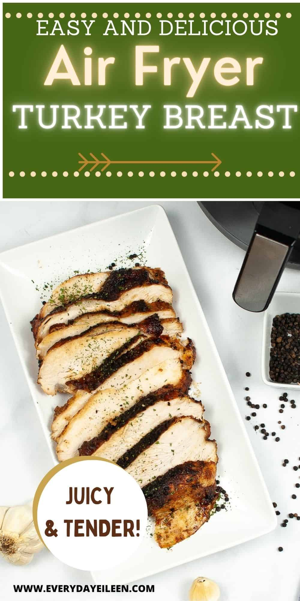 Enjoy a tasty turkey dinner without a lot of fuss. Air Fryer Turkey breast, bone-in or boneless is super moist and delicious. The skin is golden and crispy with the juiciest breast meat. A great addition to Holiday meals without using oven-space. Great for New Years, Easter, Mother's Day, Thanksgiving, and Christmas too. via @/everydayeileen/