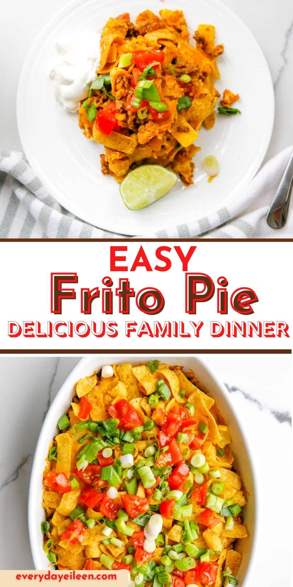 Frito Pie is a flavorful ground beef casserole loaded with taco flavors, cheese, and Fritos. These are so many variations to this taco casserole. It's great for family dinners, Cinco de Mayo, tailgate parties.  via @/everydayeileen/
