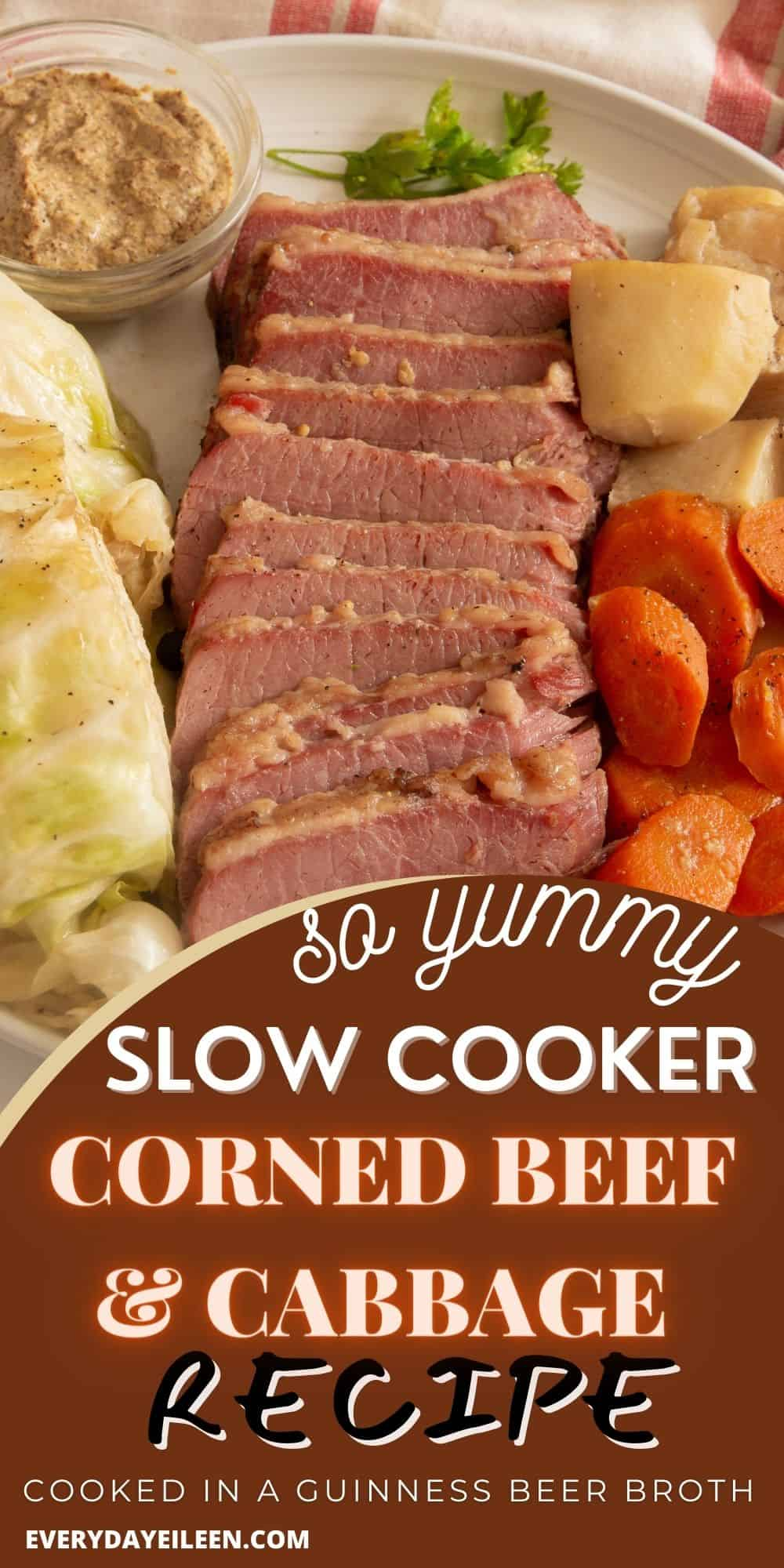 Slow cooker corned beef and cabbage, braised in beer, garlic, and seasoning to produce the most flavor-packed dinner. Tender cabbage, carrots, and potatoes are perfectly paired with the beef. Cooked to perfection in the crockpot.  via @/everydayeileen/