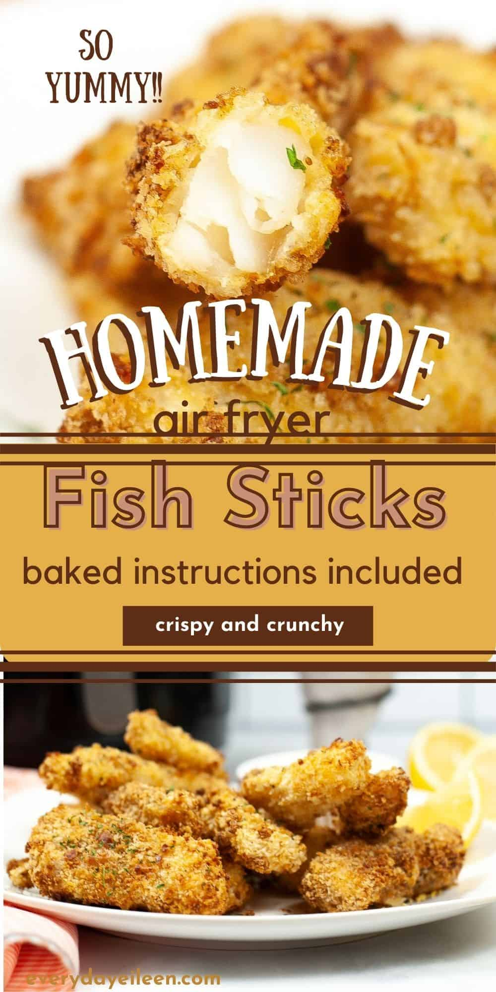 Homemade Air Fryer Fish Sticks, with a crispy crunchy Old Bay Seasoned Panko crust with tender fresh cod fish. So much better than any store bought box. Serve with your favorite tartar or cocktail sauce. Make a big batch and freeze some for later. Oven Baked Fish Stick Instructions included. #airfryerfishsticks #fishsticks #airfryerfish #everydayeileen via @everydayeileen