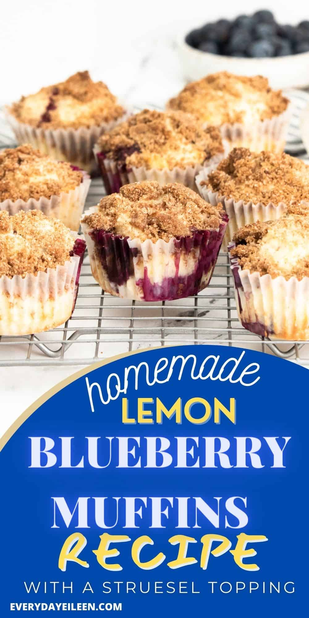 Lemon Blueberry Muffins, made with Greek yogurt for a quick fluffy and moist muffin. Making homemade muffins is easy with just a few ingredients for delicious results. Make a double batch and freeze some for later. Perfect for breakfast, brunch, Holiday brunch, Mother's Day, and Easter. via @everydayeileen