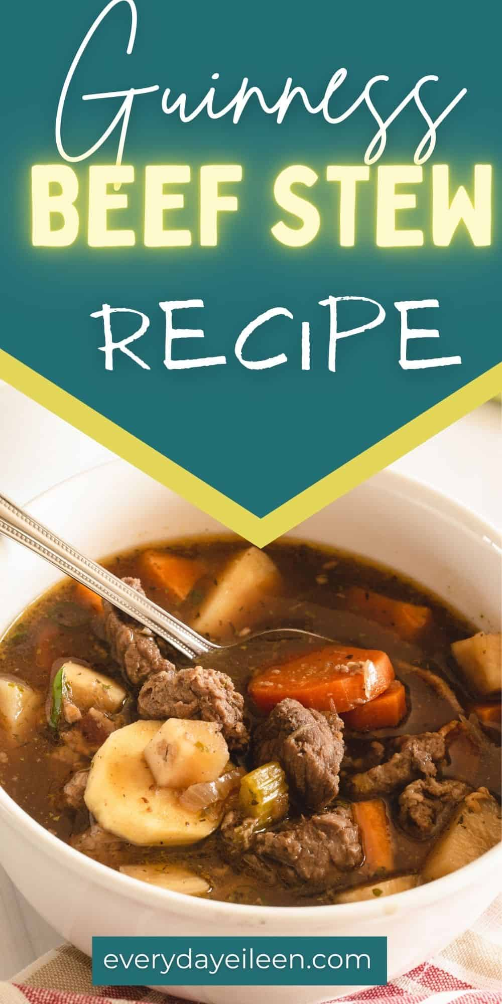 Guinness Beef Stew, tender beef and vegetables in hearty broth of Guinness ale and beef broth. A fantastic soup loaded with flavors. Perfect for any day, great for Saint Patrick's Day. via @/everydayeileen/