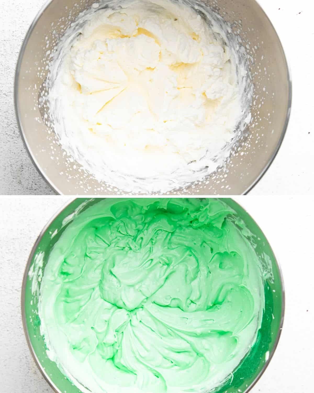 A collage, 1st photo, cream cheese in a silver bowl. 2nd photo the same bowl of cream cheese with a green tint from Creme de Menthe.