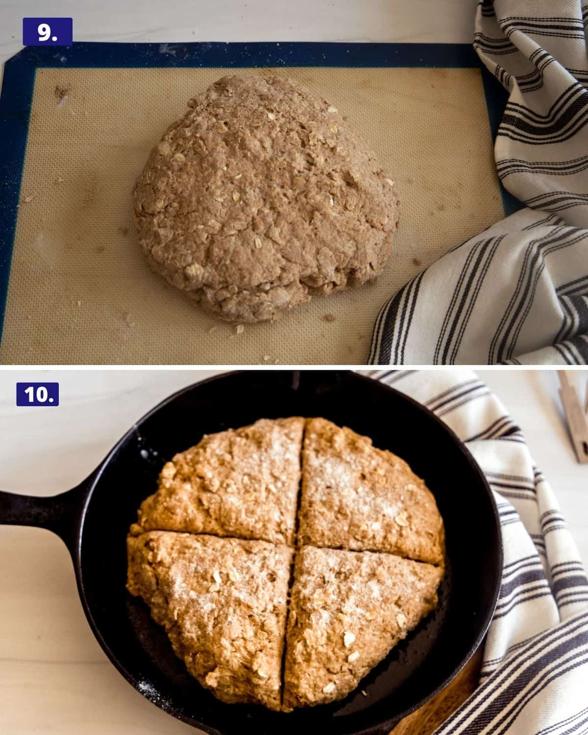 A collage, 1st photo is a round shaped brown bread on a Silpat pad. 2nd photo, the same rounded loaf in a cast iron skillet with an x marked through the dough.