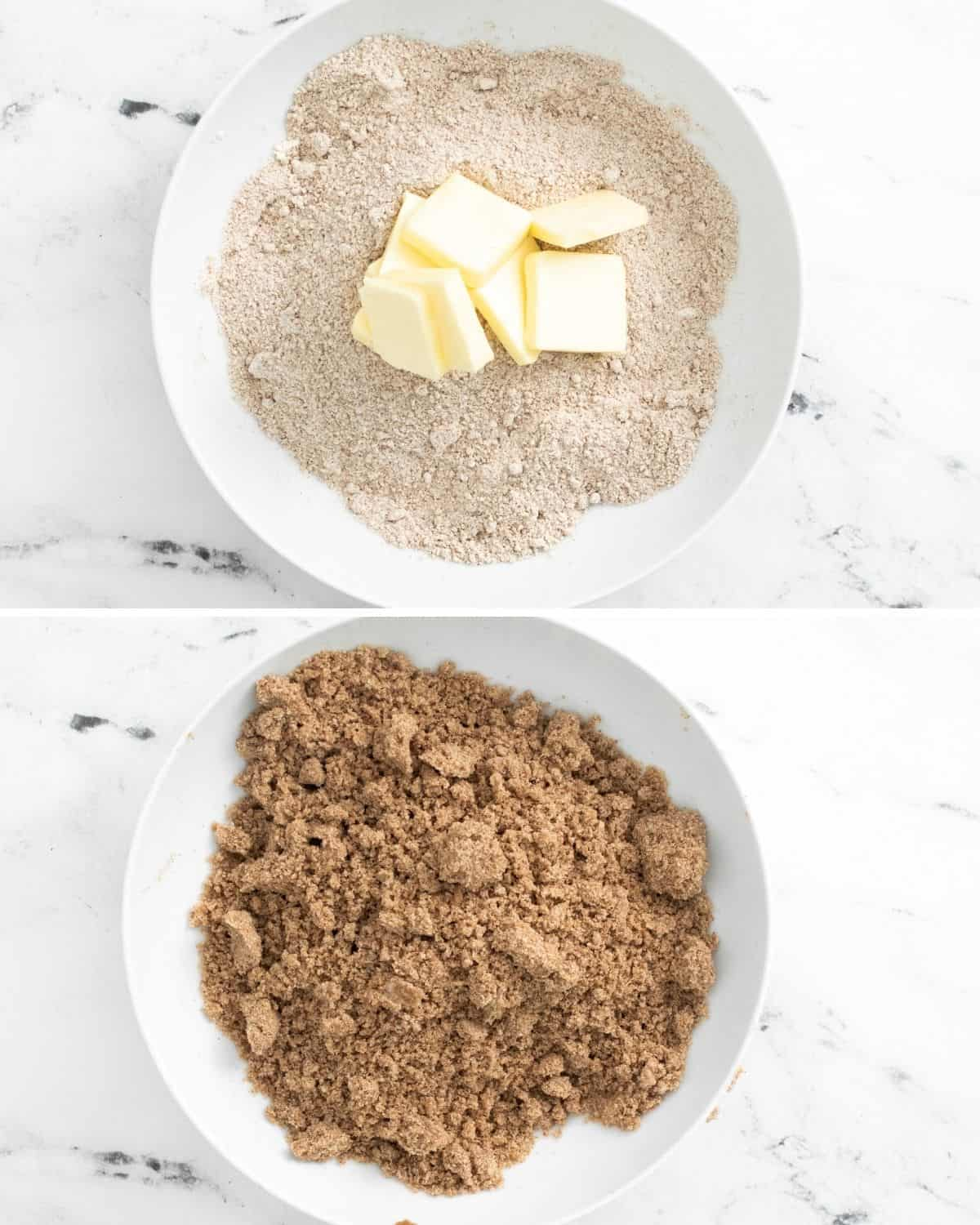 Sliced butter on top of a flour sugar mix in a white bowl. 2nd photo is the butter mixed in to the sugar mix.