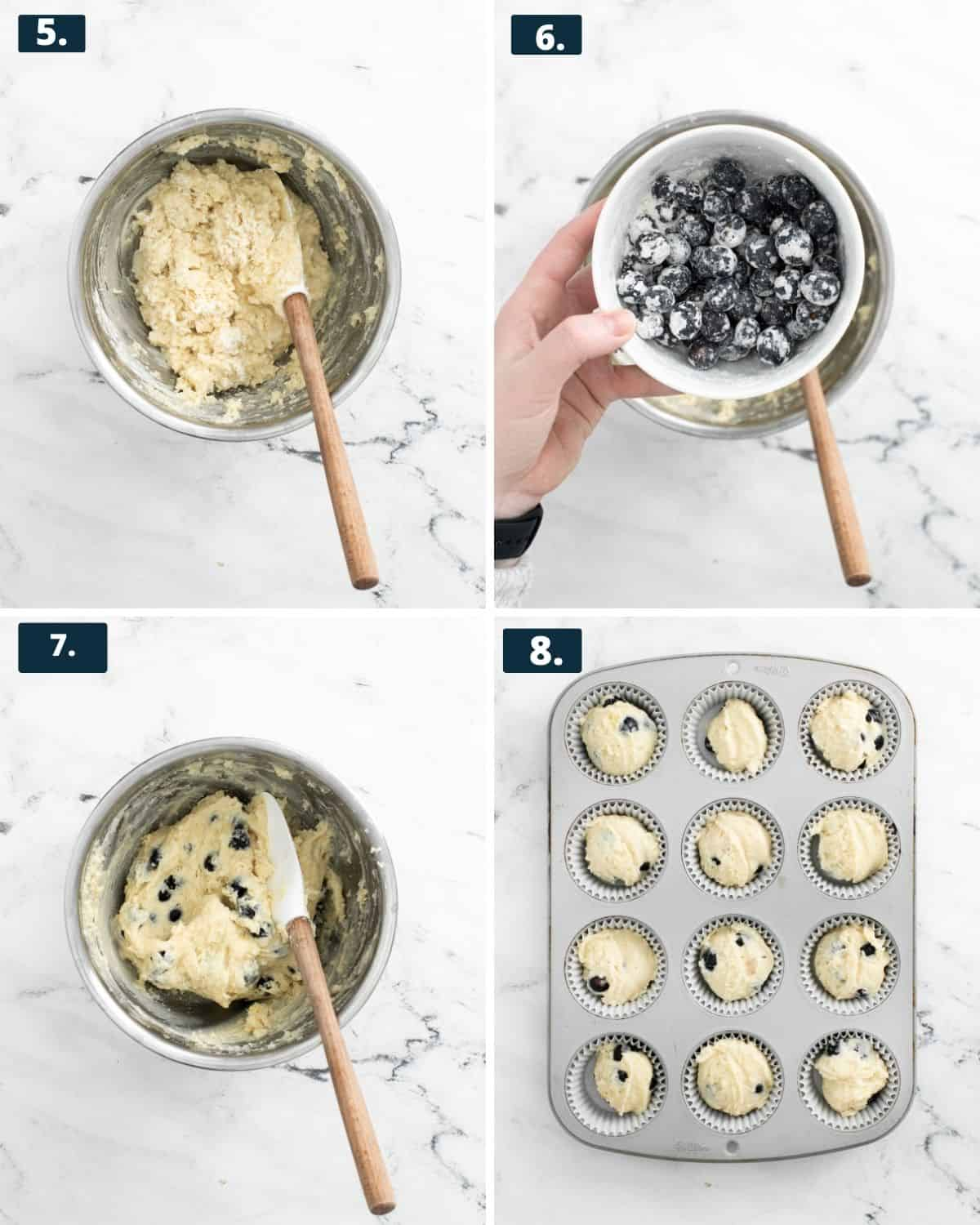 step 5-8 of making muffins. Photo 1, mix wet and dry ingredients together. Photo2. mi blueberries with flour. Photo 3, mix blueberries into wet mix. Photo 4, the muffin mix in a 12 count muffin tin.