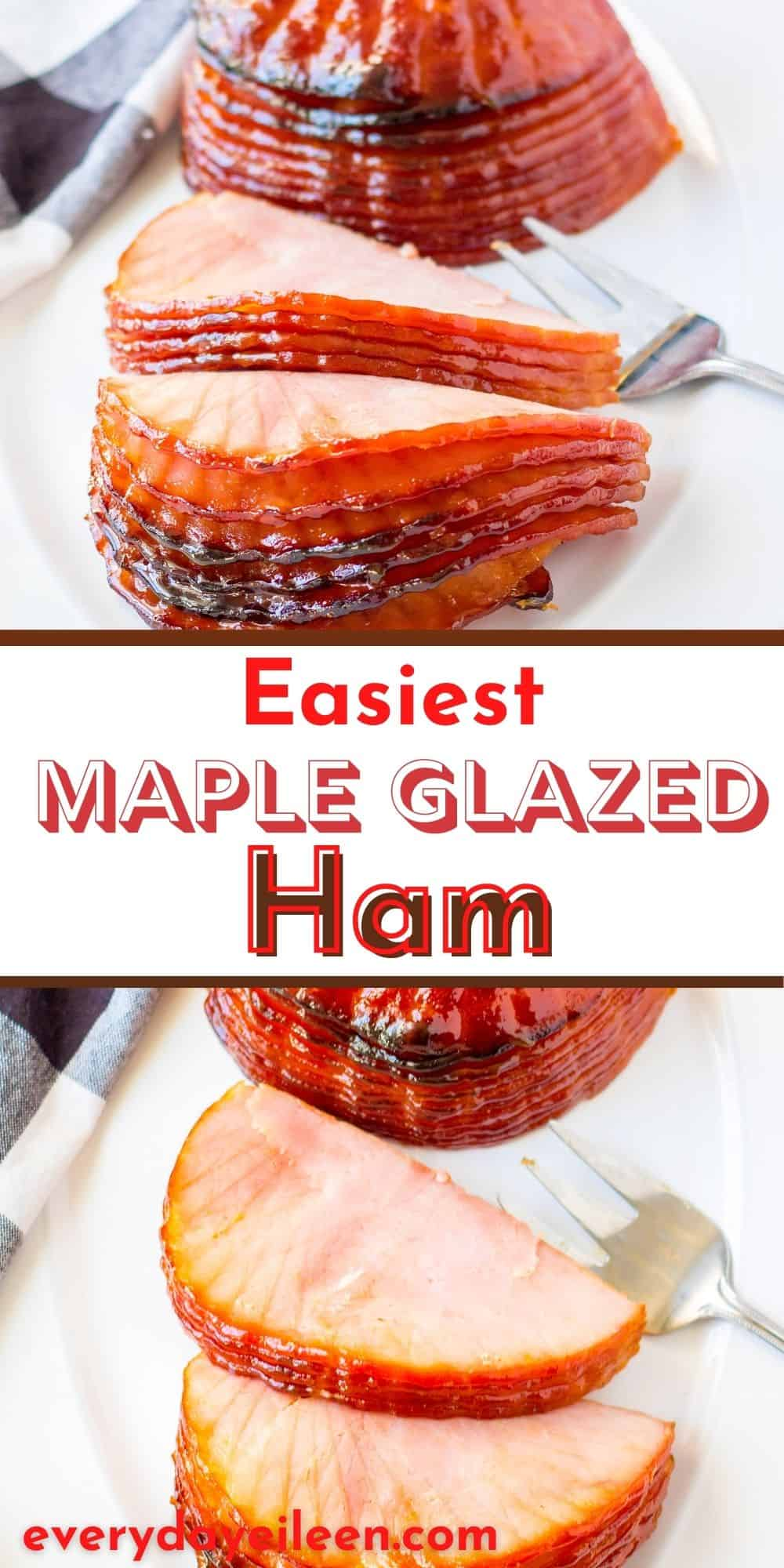 Enjoy an easy Maple Glazed Ham with just 4 ingredients to a delicious oven made spiral ham. This is perfect for Easter, Mother's Day, Thanksgiving, and Christmas. The recipe uses a boneless ham with instructions for a bone-in smoked ham.  via @/everydayeileen/