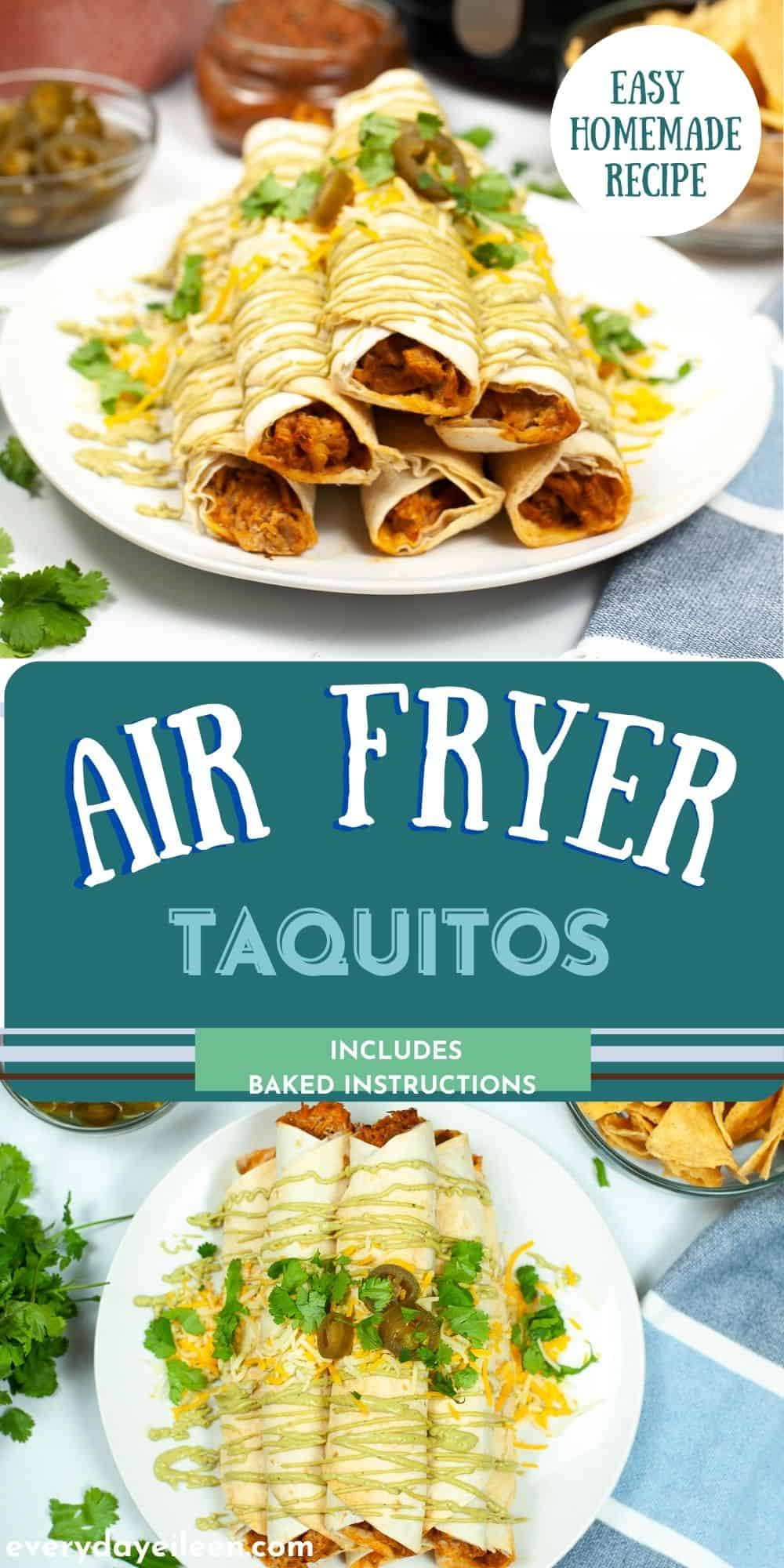 Chicken Taquitos, Air Fryer or Baked instructions are included for these delicious Mexican mini tacos that are rolled and loaded with perfectly seasoned chicken. Shredded beef can be used. We have included both air fryer and baked instructions. Top with your favorite taco toppings. Perfect for a crowd, tailgating, Cinco de Mayo. via @/everydayeileen/