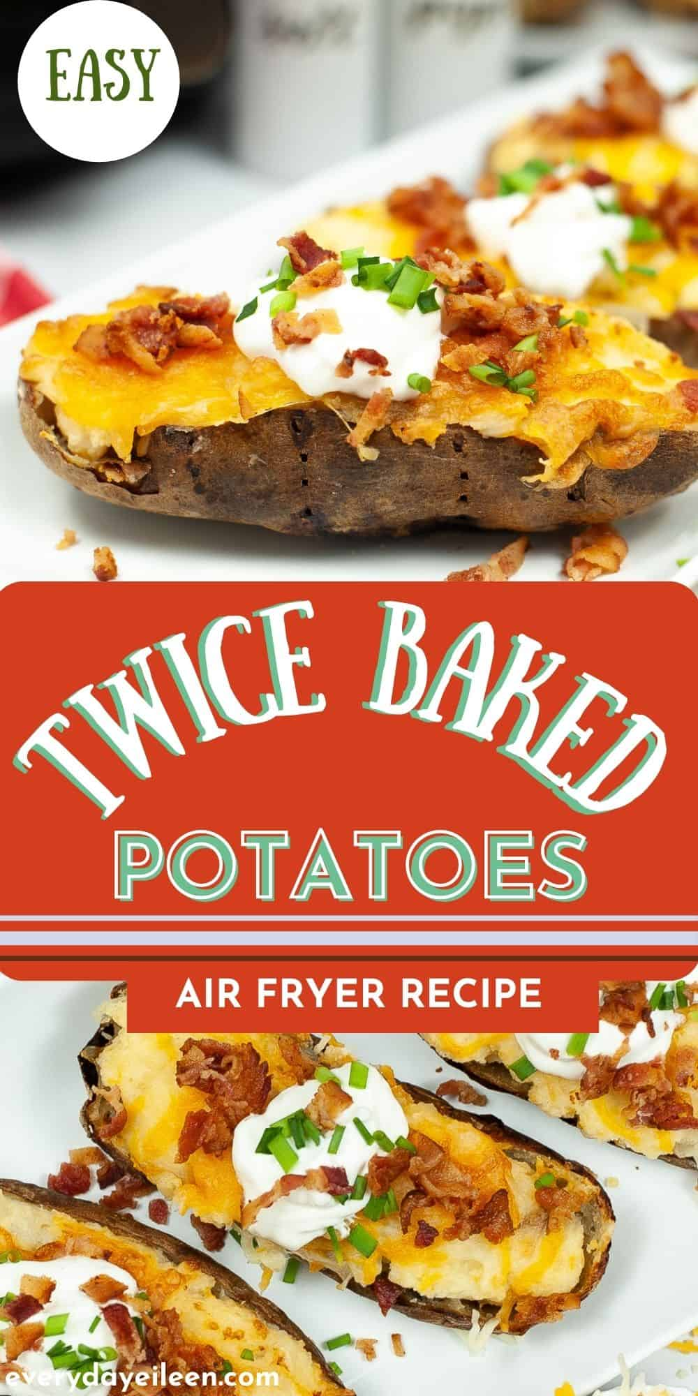 Twice Baked Potatoes, made in the air fryer are full of flavor and creamy. They are light and fluffy with a crispy skin topped with shredded melted cheddar cheese, crumbled bacon, and sour cream. Air fryer baked potatoes freeze well and can be cooked from frozen too. These stuffed potatoes are a family friendly side dish or appetizer.  via @/everydayeileen/