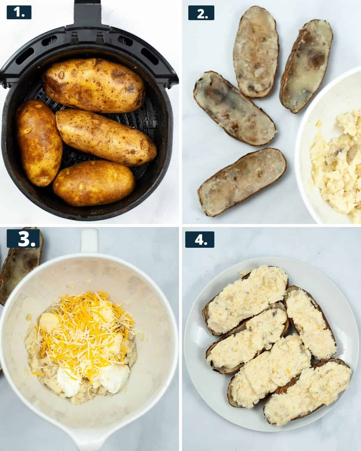 First 4 steps to make air fryer baked potatoes, 1 potatoes in the air fryer 2, Baked potatoes scooped put of all their pulp. 3. A large mixing bowl with potatoes, cheese, sour cream, heavy cream in a bowl, 4th photo, the stuffed potatoes with the cheesy filling.