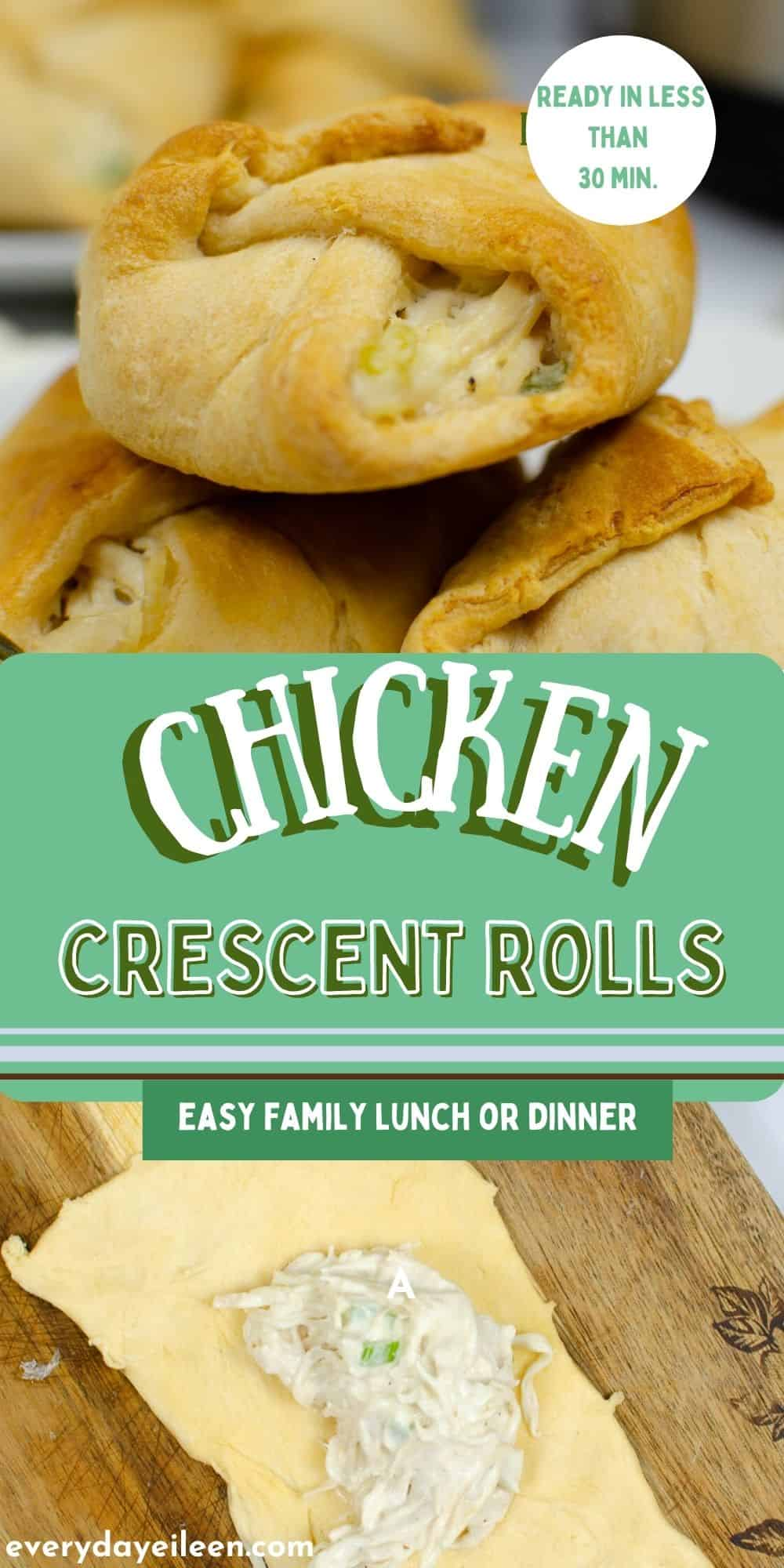 Homemade chicken crescent rolls are filled with tender chicken in a smooth cream cheese sauce wrapped in canned crescent rolls. This easy family friendly meal is ready in less than 30 minutes. A very kid-friendly recipe, ever my picky eaters love this one. A great recipe to feed a crowd for family parties, Holiday parties, tailgating. via @/everydayeileen/