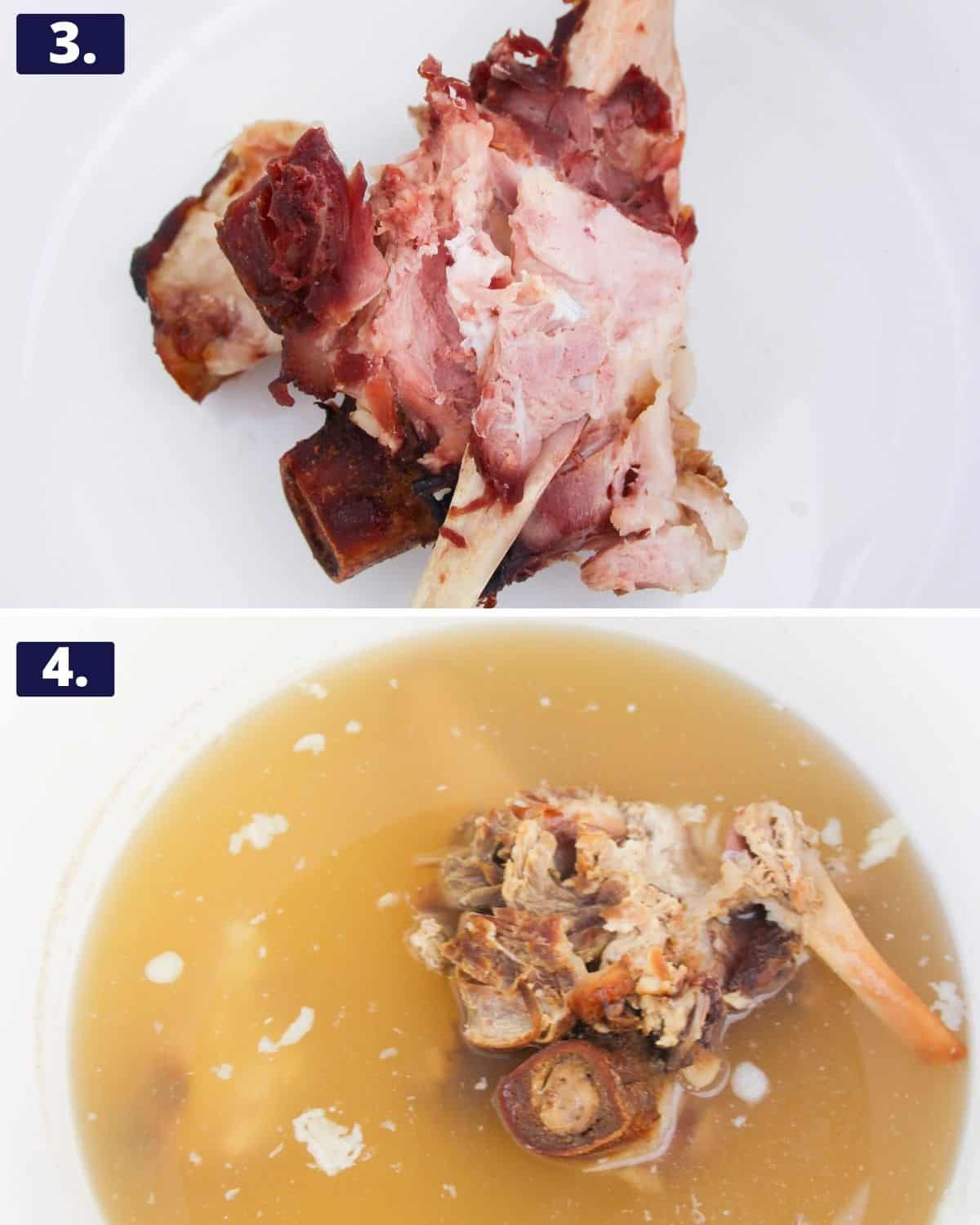 2 photos, 1st photo - a ham bone in a pot. 2nd photo the ham bone cooked down in a soup stock.