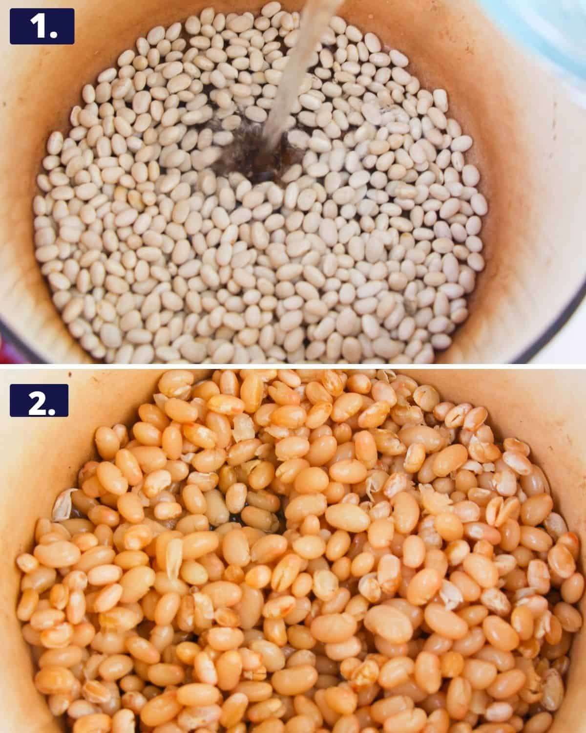 White beans in a stock pot. 2nd photo, the beans in the pot after being cooked.