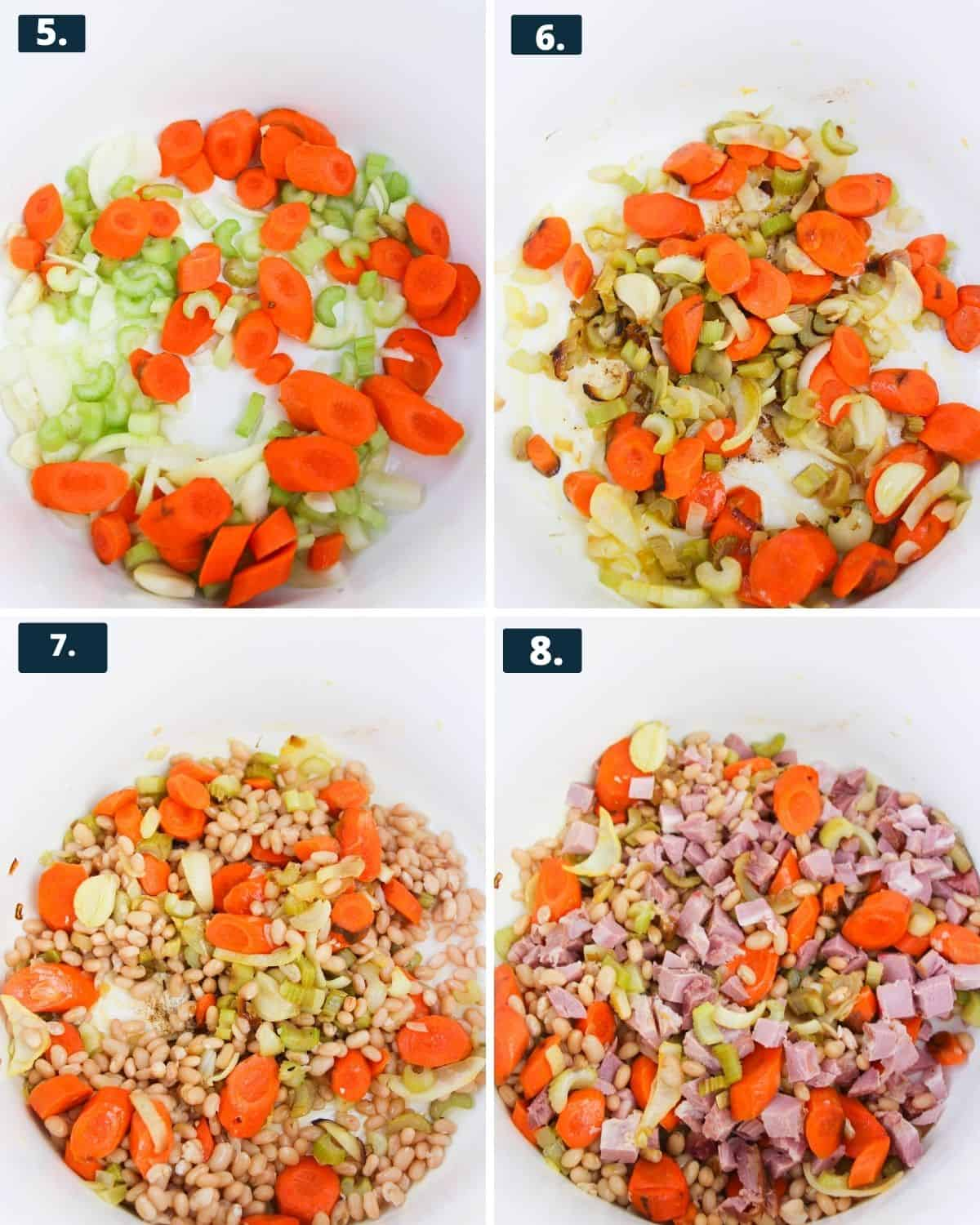 4 photos,1 diced carrots and celery in a pot. 2nd photo, same veggies sauteed in the pot. 3rd photo, adding the beans into the veggies. 4th photo, ham is added into the veggies and beans.