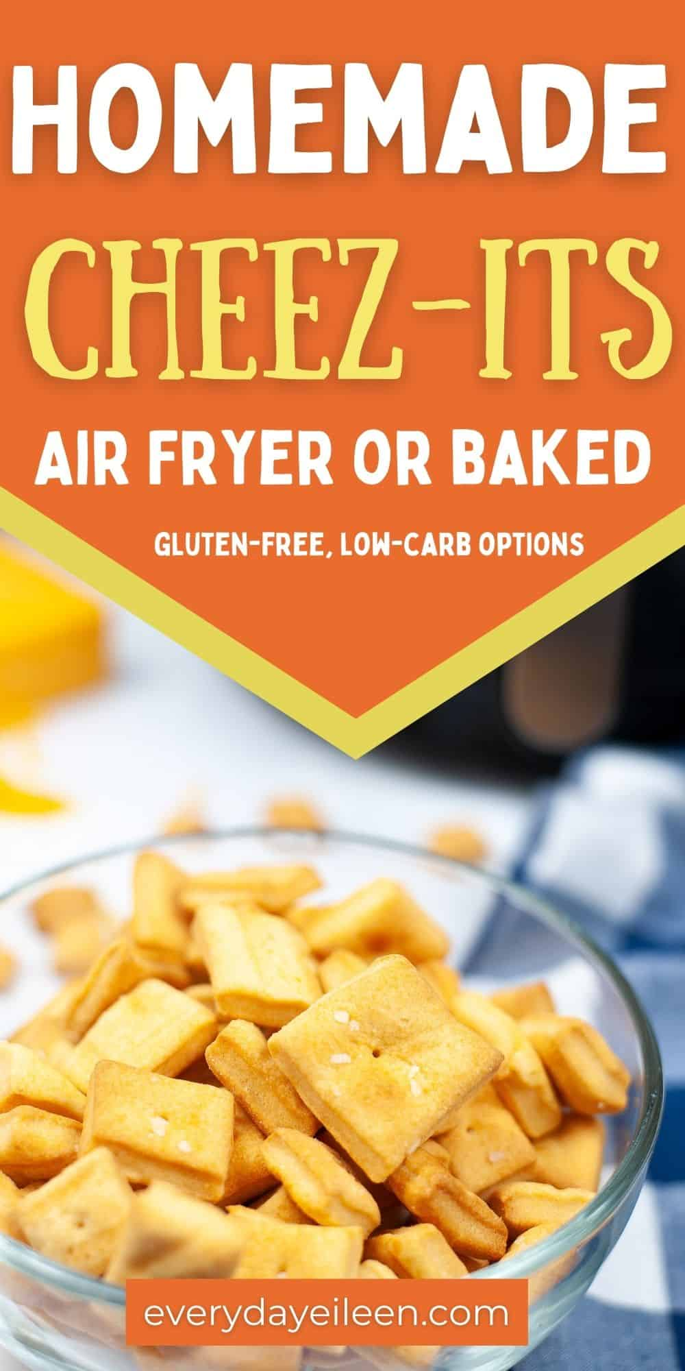 Homemade Cheez-Its can be either Air Fried or Baked in the oven for a great tasting DIY Cheese cracker. The cheddar flavors are fresh and bold. These crackers are a hit with the family and kids love these crackers. We have included both Gluten-free and Low-carb options for these tasty easy baking treats.  via @/everydayeileen/